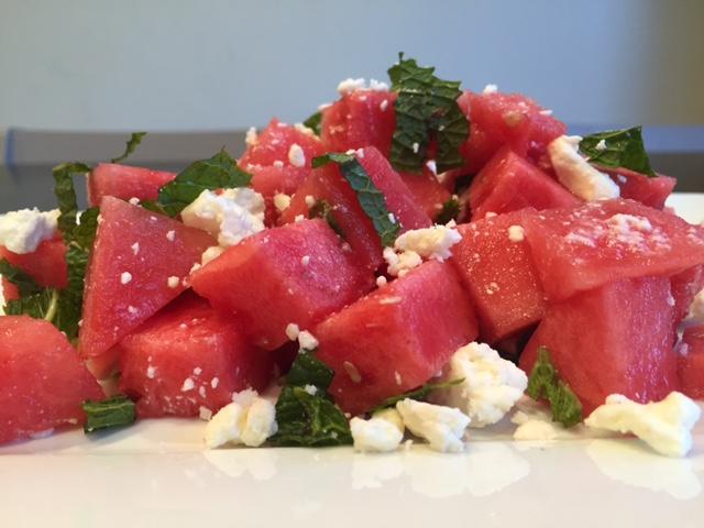 Watermelon Feta Salad with Spicy Basil dressing
